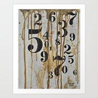 Numeric Values: Crude Fi… Art Print