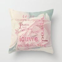 Paris typography Throw Pillow