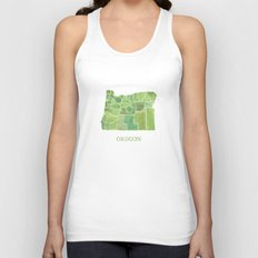 Oregon Counties watercolor map Unisex Tank Top