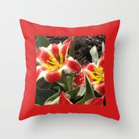 Throw Pillow featuring Tulips, Red and Yellow Striped by Rogue Crafter