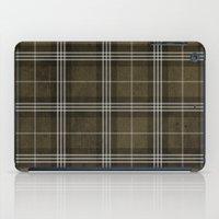 Grungy Brown Plaid iPad Case