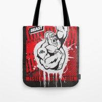 Mayhem Ape (Black on Red) Tote Bag