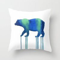 Watercolor: Cosmic Bear Throw Pillow