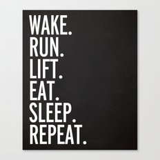 Run, Sleep, Repeat Gym Quote Canvas Print