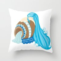 Aquarius Girl Throw Pillow