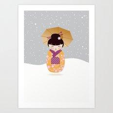 SNOW-kokeshi Art Print