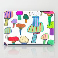Mushrooms, mushroom print, mushroom art, illustration, design, pattern,  iPad Case