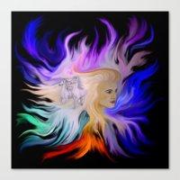 Woman and Horse - Fantasy Rainbow Art Canvas Print