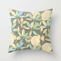 Leaf pattern | brown, pale yellow and green Throw Pillow