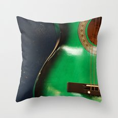 Green guitar Throw Pillow