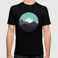 Minimal Mountain Night Mens Fitted Tee Black SMALL
