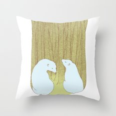 bears in the forest Throw Pillow