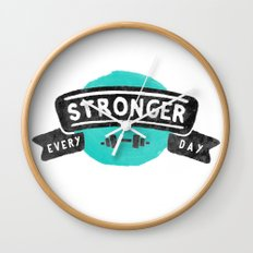 Stronger Every Day (dumbbell) Wall Clock