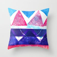 Press print and digital triangles Throw Pillow