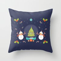 Day 01/25 Advent - Frosty meets his match Throw Pillow