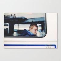 Man in tram, Goteborg Sweden winter 2012 Canvas Print