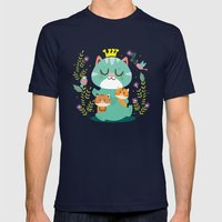 Queen cat Mens Fitted Tee Navy SMALL
