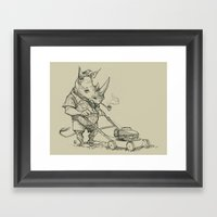 Rhino Mower Framed Art Print