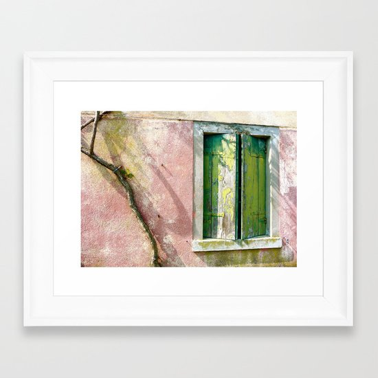 Old green window Framed Art Print