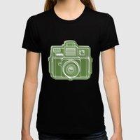 I Still Shoot Film Holga Logo - Green Womens Fitted Tee Black SMALL
