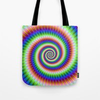 Green Blue Red and Yellow Spiral Tote Bag