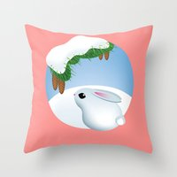 Winter bunny Throw Pillow