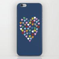 Hearts Heart Navy iPhone & iPod Skin