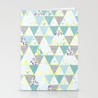 PASTEL NEON GEO FLORALS IN MINT Stationery Cards