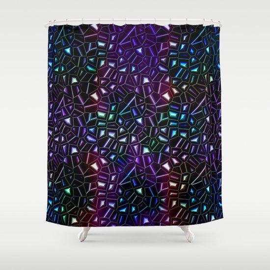 Midnight Rainbow Glitter Shower Curtain