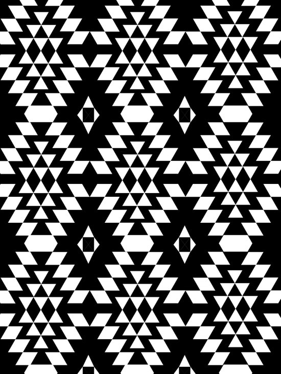 Aztec Inspired Pattern White & Black Art Print
