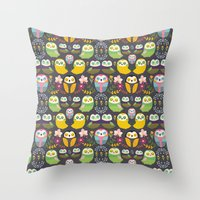 Owls and flowers Throw Pillow