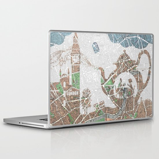 4 o'clock tea London Map Laptop & iPad Skin