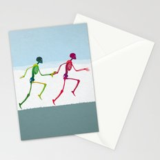 running sketeton with banana Stationery Cards