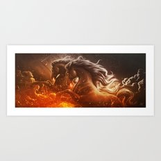 Fire with Horses Art Print