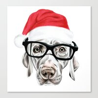 Christmas Weimaraner Canvas Print