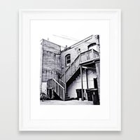 Framed Art Print featuring Alleyway stairs by Vorona Photography
