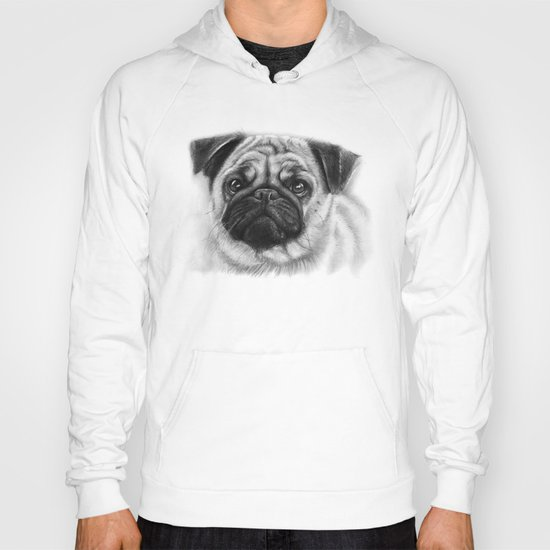 Cute Pug Portrait Hoody