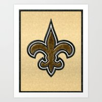 New Orleans Saints Logo in Leather Art Print