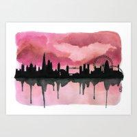 London Skyline 2 Pink Art Print