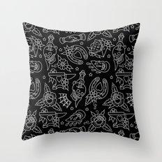 Classic Black Tattoo Pattern  Throw Pillow
