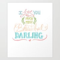 Hand Lettered I LOVE YOU… Art Print