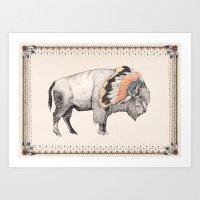 native Art Prints featuring White Bison by Sandra Dieckmann