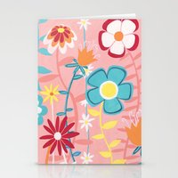 Flowers on Pink Stationery Cards