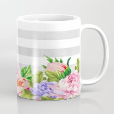 FLORAL GRAY STRIPES Mug