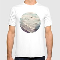 Ocean Waves Retro Mens Fitted Tee White SMALL