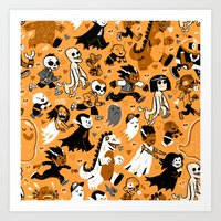 Alt Monster March (Orange) Art Print