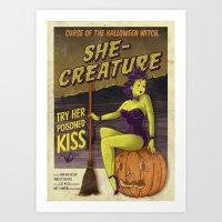 Hobo and Sailor. Halloween Witch Art Print