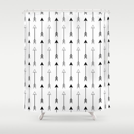 Black and white arrows pattern shower curtain by fox for Black and white shower curtain