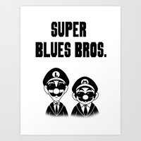 Super Blues Bros. (Black and White) Art Print