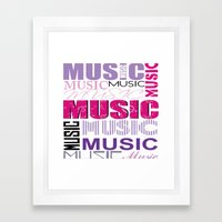 The Word Music In Purple… Framed Art Print